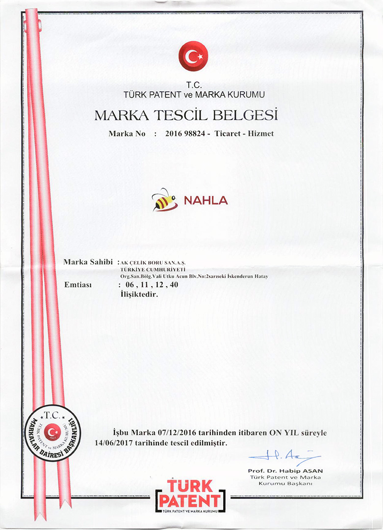 MARKA TESCİL BELGESİ – NAHLA